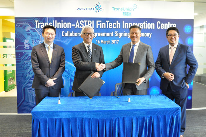 •	Caption: (From left) Dr. Duncan Wong, VP, Financial Technologies of ASTRI; Dr. Frank Tong, CEO of ASTRI; Mr. Lawrence Tsong, President of Asia Pacific, TransUnion; Mr. Samuel Ho, CEO, TransUnion Hong Kong, signed a MoU on March 16, 2017, at Hong Kong Science Park to establish a digital identity solutions laboratory